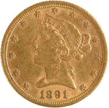 États-Unis, 5 dollars Liberté, 1891 Carson City