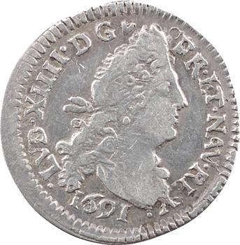 Louis XIV, quadruple sol aux deux L, 1691 Troyes