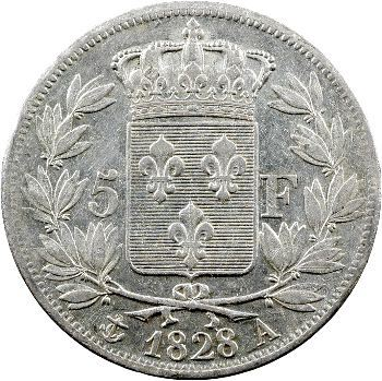 Charles X, 5 francs 2e type, 1828 Paris