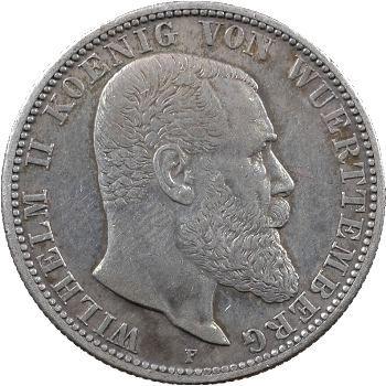 Allemagne, Wurtemberg (royaume de), Guillaume II, 2 mark, 1906 Stuttgart