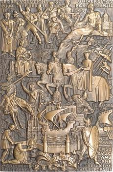IVe Rép., hommage de la Ville de Paris à Jacques Pauvet (Le Monde), par Delamarre, grande fonte, 1954 Paris