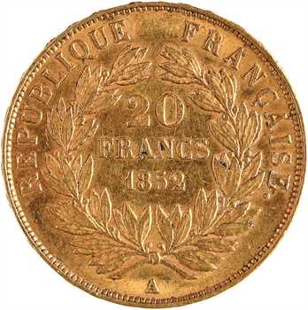 IIe République, 20 francs LNB, 1852 Paris