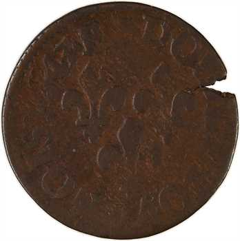 Louis XIII, double tournois, type de Warin, légende latine, 1643 Tours