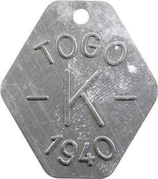 Togo, plaque de taxe, K, 1940