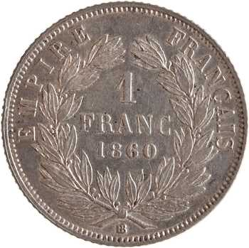 Second Empire, 1 franc tête nue, 1860 Strasbourg abeille