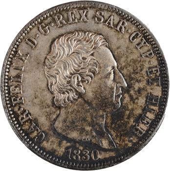 Italie, Savoie-Sardaigne, Charles-Félix, 5 lire, 1830 Gênes
