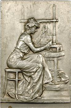 Favre (M.) : l'atelier de reliure, plaque, 1900 Paris